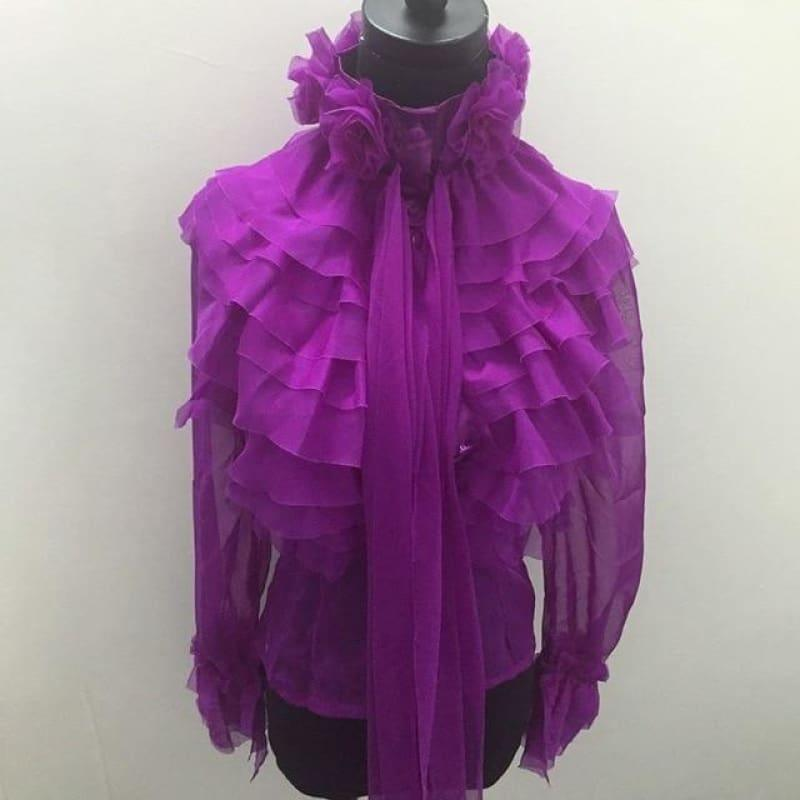 Perspective Bowknot Flare Long Sleeve Ruffle Shirt - purple / L - Long Sleeve