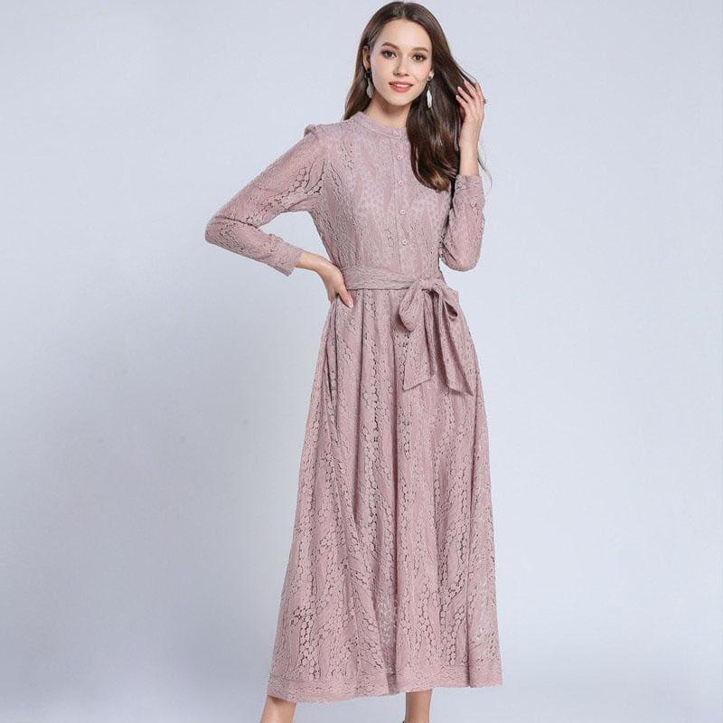 Pink A-Line Vintage Belted Lace Maxi Dress - Maxi Dress