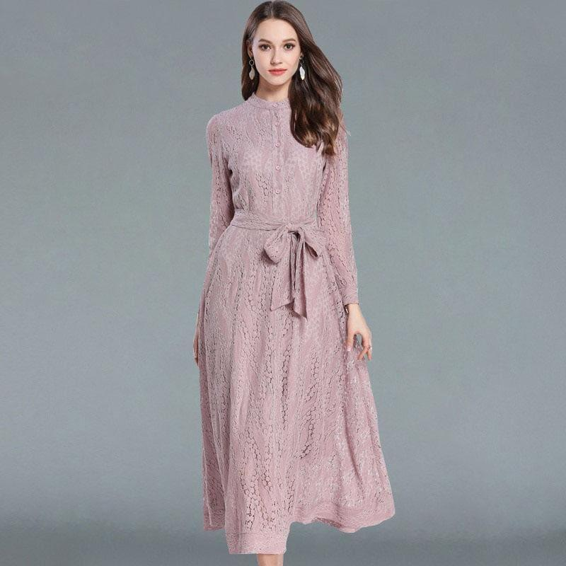 Pink A-Line Vintage Belted Lace Maxi Dress - Pink / S - Maxi Dress