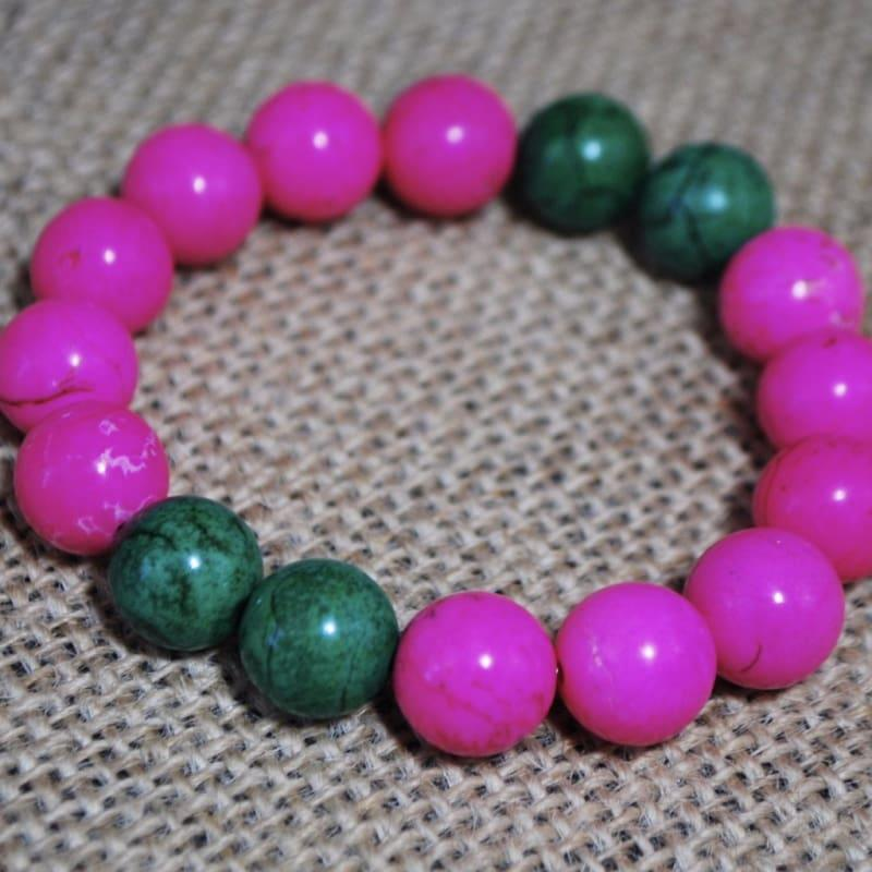 Pink and Green Turquiose Bracelets - Handmade
