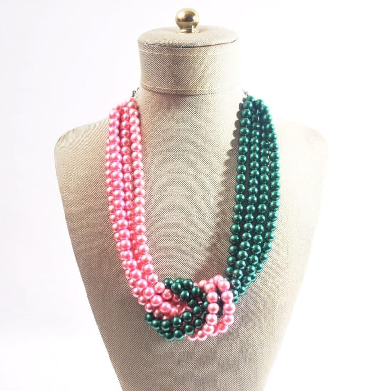 Pink and Green Twist Beaded Pearls Necklace - Handmade