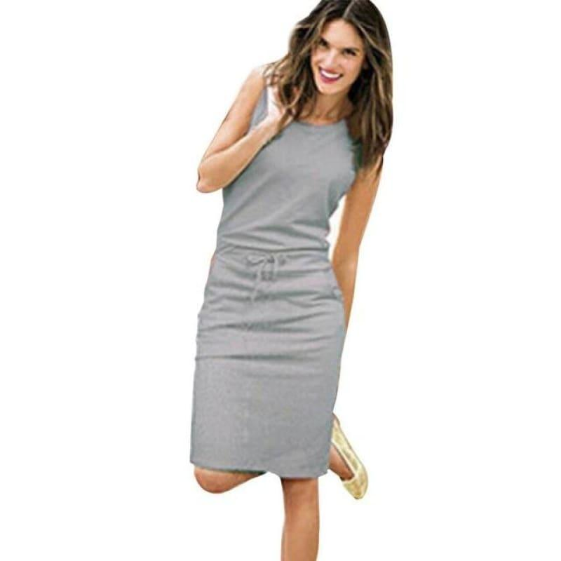 Pink Belt Pencil Sundress Ladies Summer Beach Casual Mini Dress - Gray / S - Mini Dress