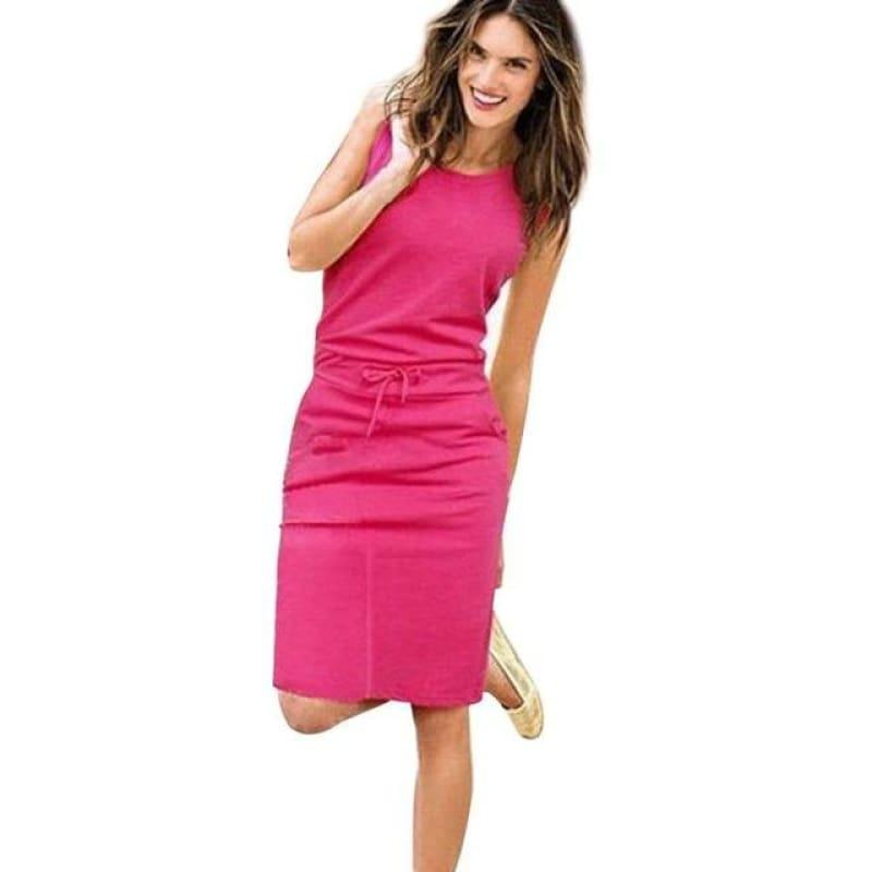 Pink Belt Pencil Sundress Ladies Summer Beach Casual Mini Dress - Hot Pink / S - Mini Dress