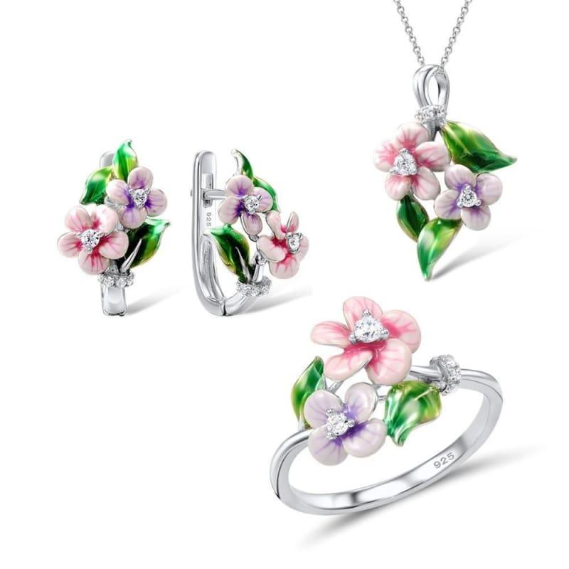 Pink Flower CZ Stones Ring Earrings Pendent Necklace 925 Sterling Silver Women Jewelry Set - Jewelry Set
