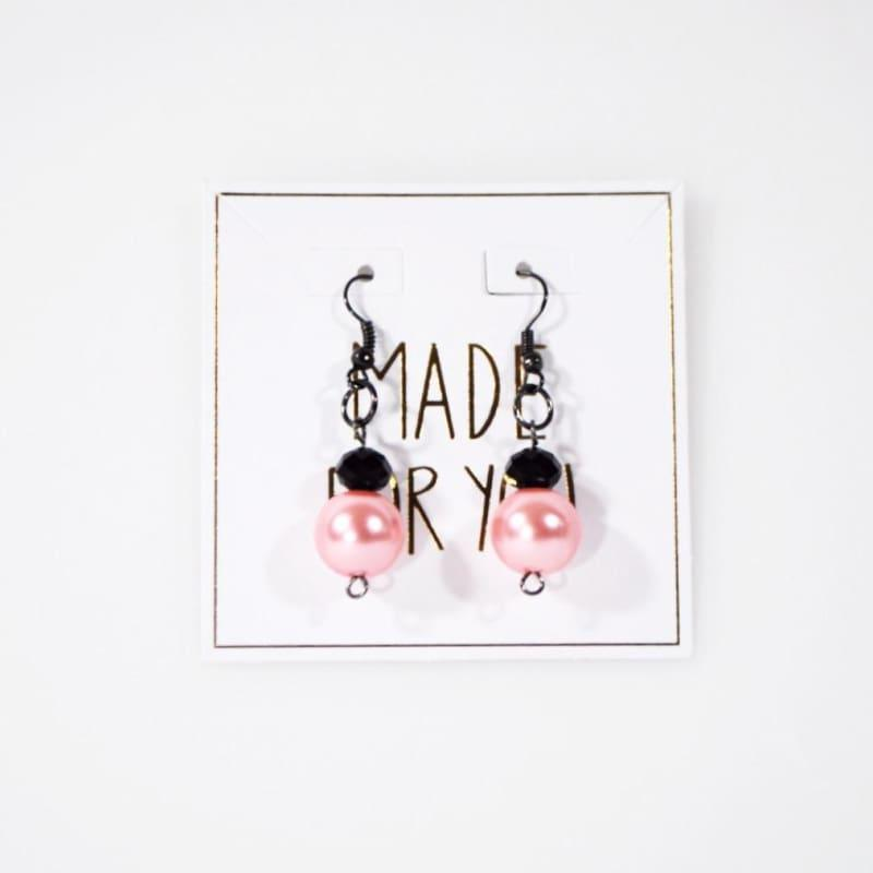 Pink Glass Pearls With Gunmetal French Hoops Womens Dangle Earrings - Red Earrings