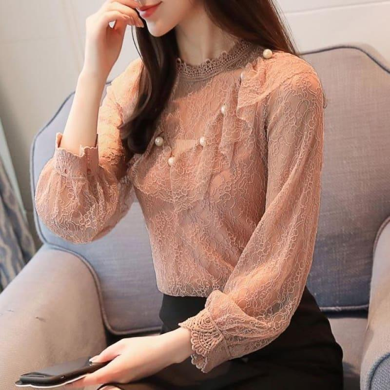 Pink Lace Long Sleeved Top - Pink / L - Long Sleeve