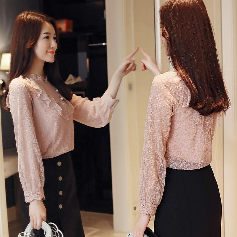 Pink Lace Long Sleeved Top - Long Sleeve