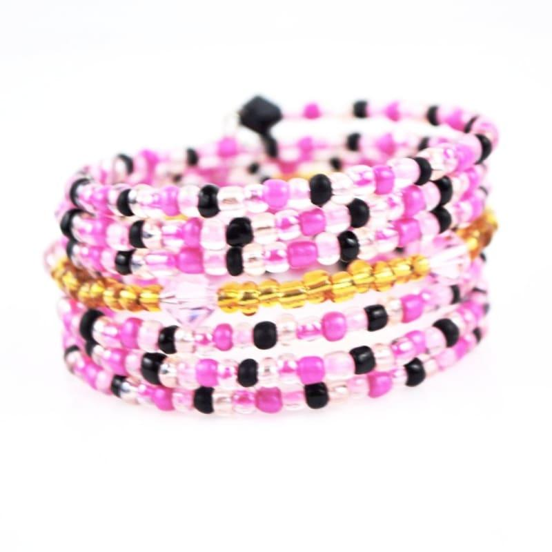 Pink Memeory Charms Steel Wrap Around Bracelets - Handmade