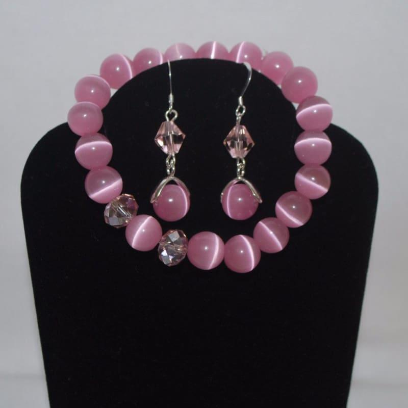 Pink Mexican Opal Dangle Womens Earrings - Earrings