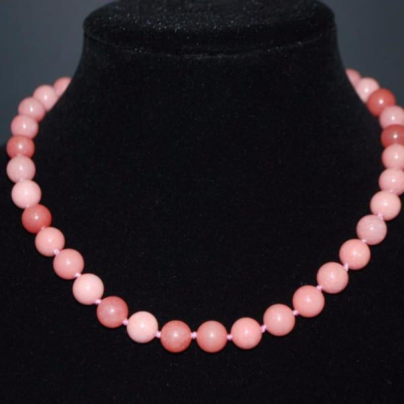 Pink Morganite Gemstone Beaded Womens Necklace - Handmade