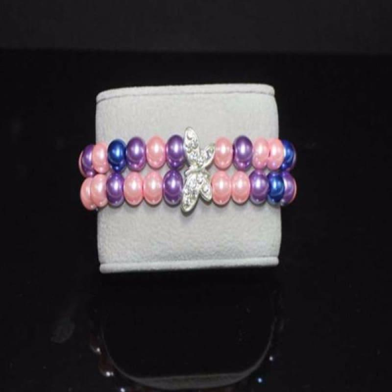 Pink / Purple Glass Pearl Butterfly Bracelets - Handmade