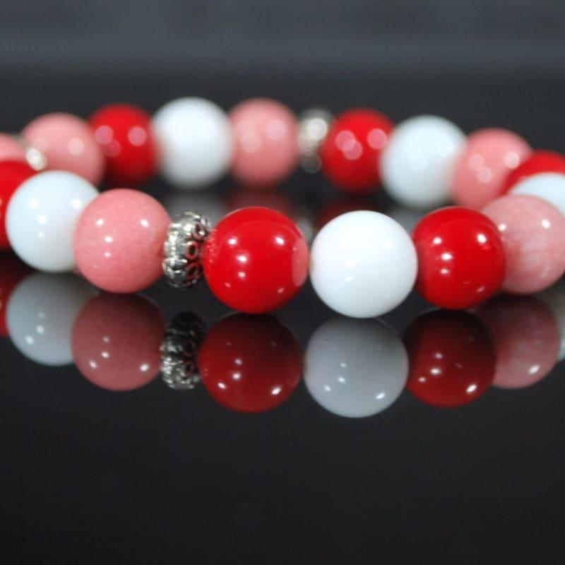 Pink Red and White Mixed Color With Antique Silver Bracelets - Handmade