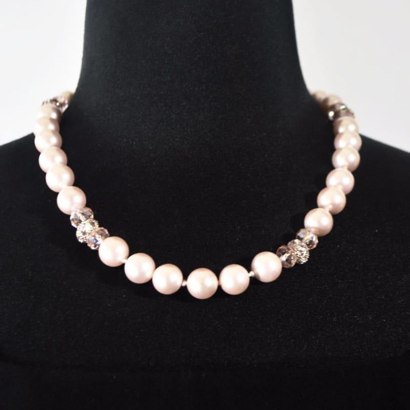 Pink Shell Pearls With Rhinestones Necklace - Handmade