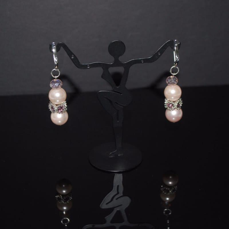 Pink shell Rhinestone Drop Earrings - Handmade