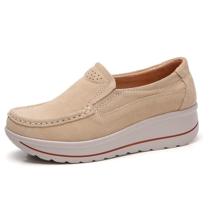 Platform Sneakers Leather Suede Slip On Flats - 3507 Apricot / 10.5 - Flats