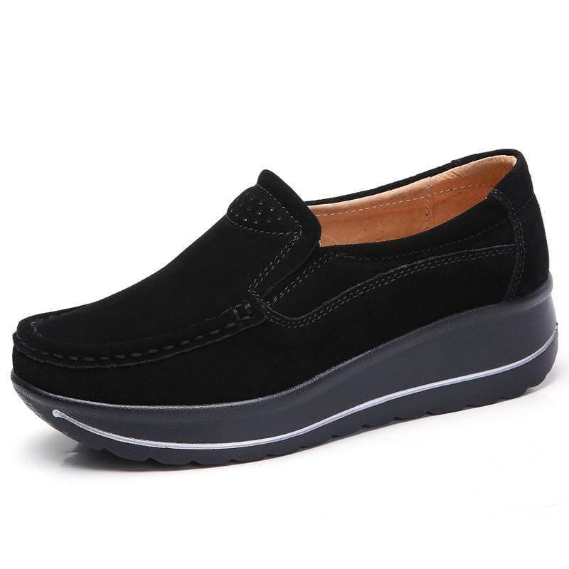 Platform Sneakers Leather Suede Slip On Flats - 3507 Black / 10.5 - Flats