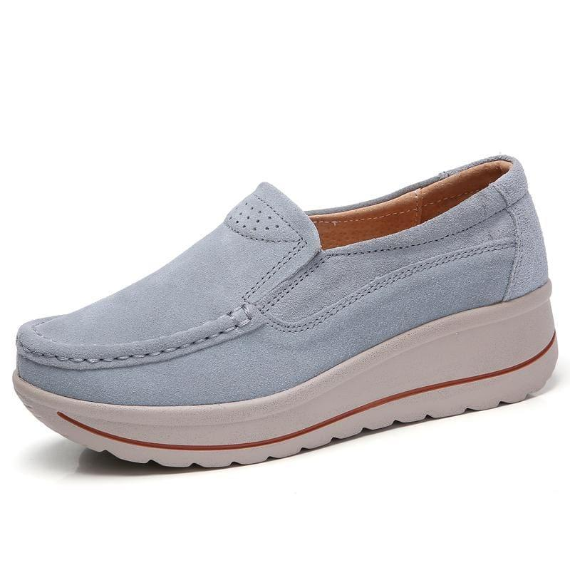 Platform Sneakers Leather Suede Slip On Flats - 3507 Grey / 10.5 - Flats