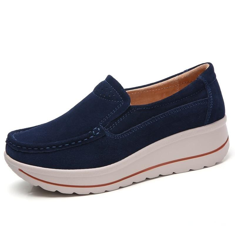 Platform Sneakers Leather Suede Slip On Flats - 3507 Navy Blue / 10.5 - Flats