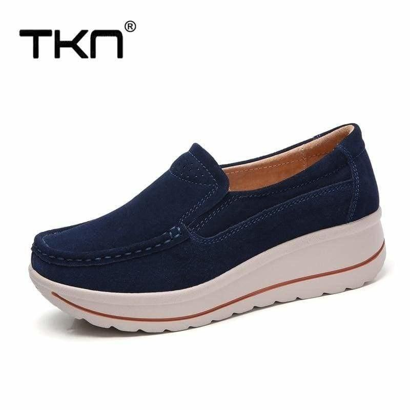 Platform Sneakers Leather Suede Slip on Flats - Flats