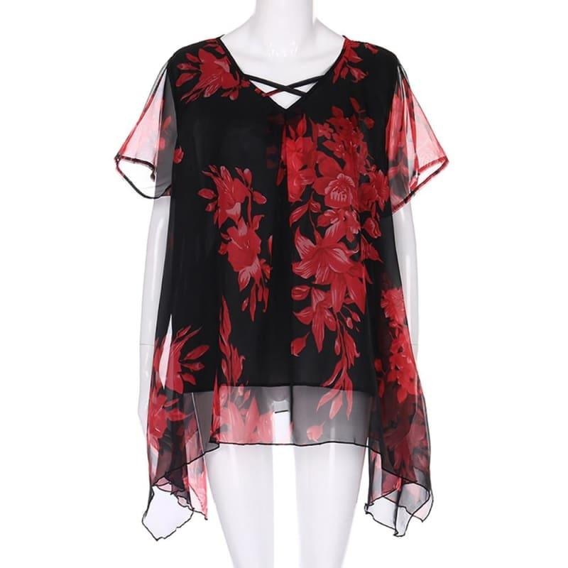 Plus Size Front Criss Cross Floral Double Chiffon Blouse - Red / 4XL - Short Sleeve