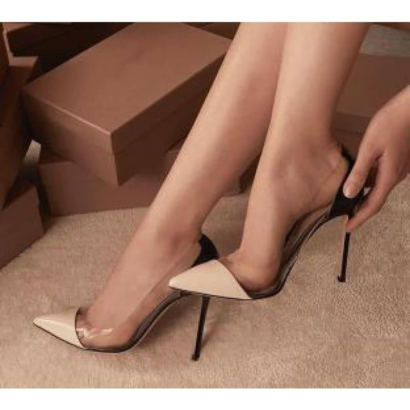 Pointed Toe Clear Patent Leather With Plexiglass Pumps - 10cm 2 / 34 - pumps