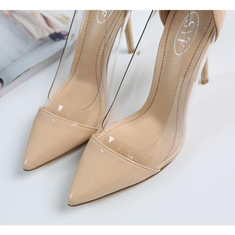 Pointed Toe Clear Patent Leather With Plexiglass Pumps - 10cm 3 / 34 - pumps