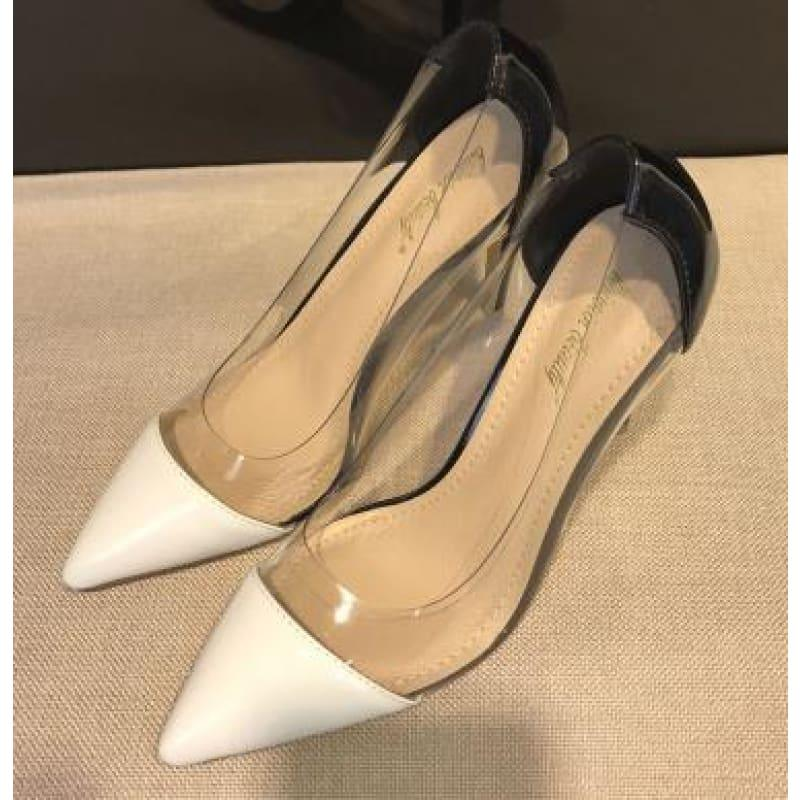 Pointed Toe Clear Patent Leather With Plexiglass Pumps - 10cm / 34 - pumps