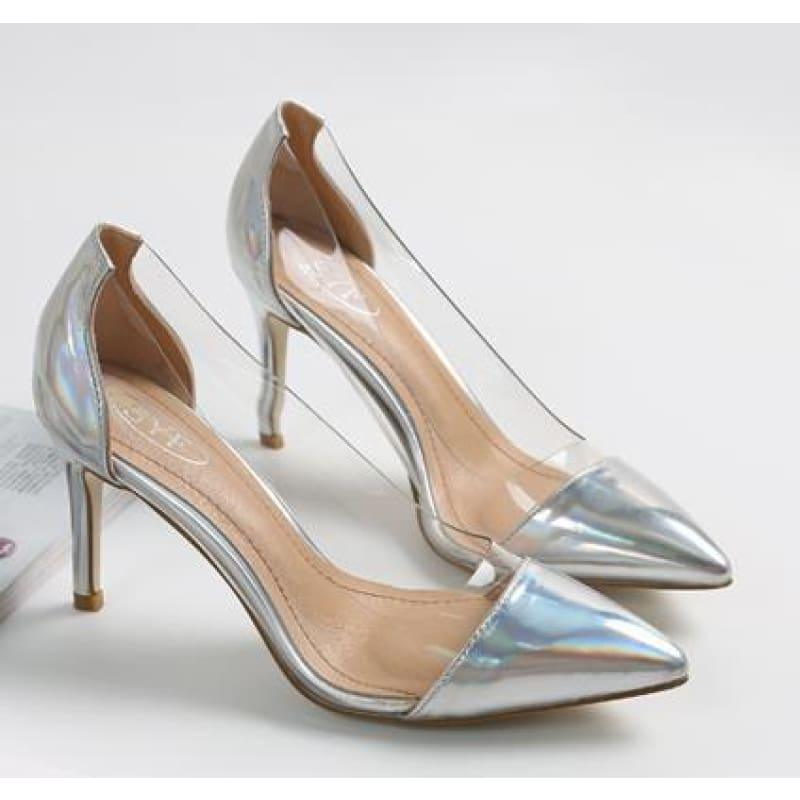Pointed Toe Clear Patent Leather With Plexiglass Pumps - 10cm 4 / 34 - pumps