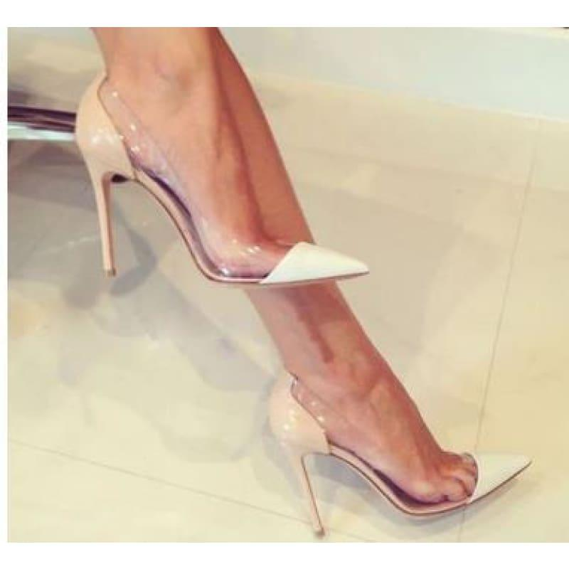 Pointed Toe Clear Patent Leather With Plexiglass Pumps - 10cm 5 / 34 - pumps
