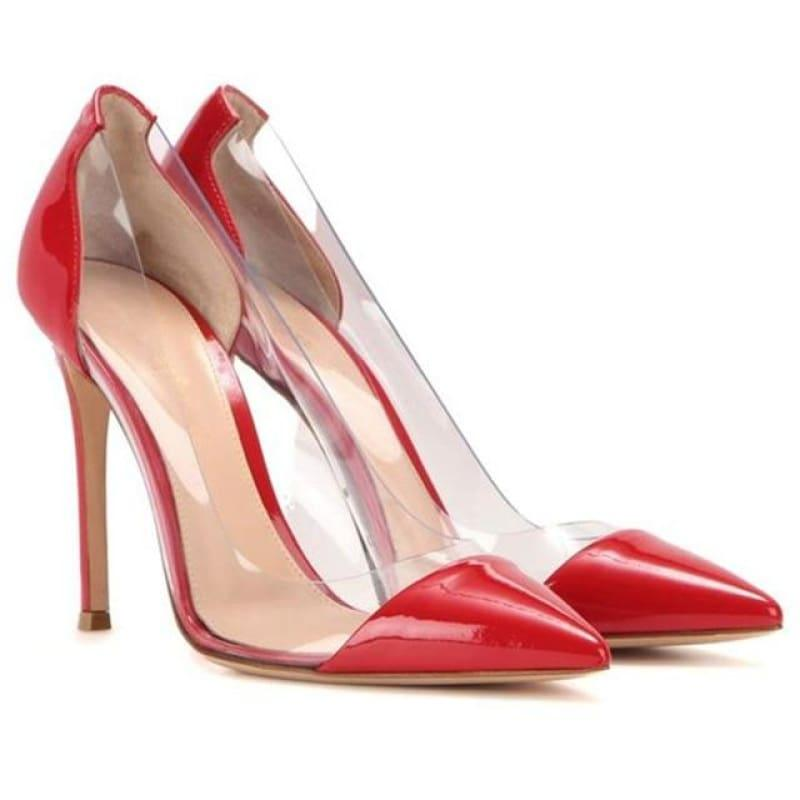 Pointed Toe Clear Patent Leather With Plexiglass Pumps - 10cm 6 / 34 - pumps