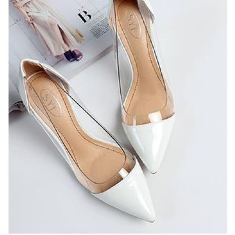 Pointed Toe Clear Patent Leather With Plexiglass Pumps - 10Cm 7 / 34 - Pumps