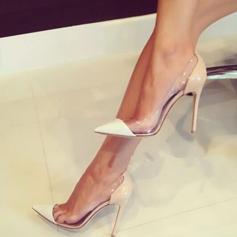 Pointed Toe Clear Patent Leather With Plexiglass Pumps - pumps