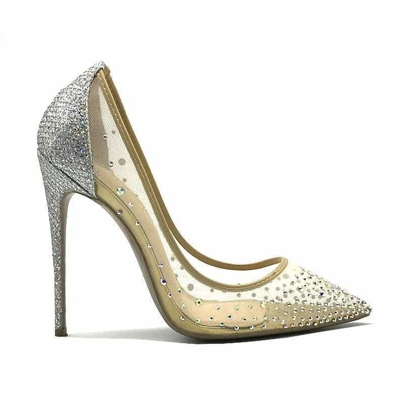 Pointed Toe Heels Crystal Silver High Heels Pumps - pumps