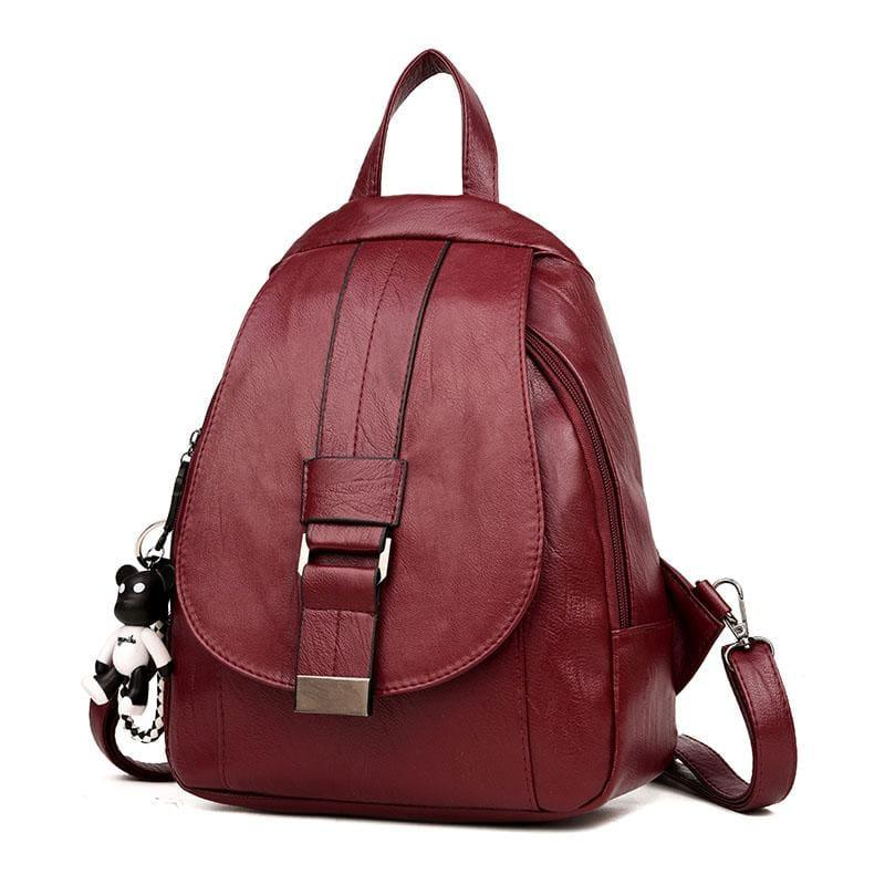 Preppy Style Backpack School Small Shoulder Bag - winered / L25cm W23cm Thk10cm - Back pack