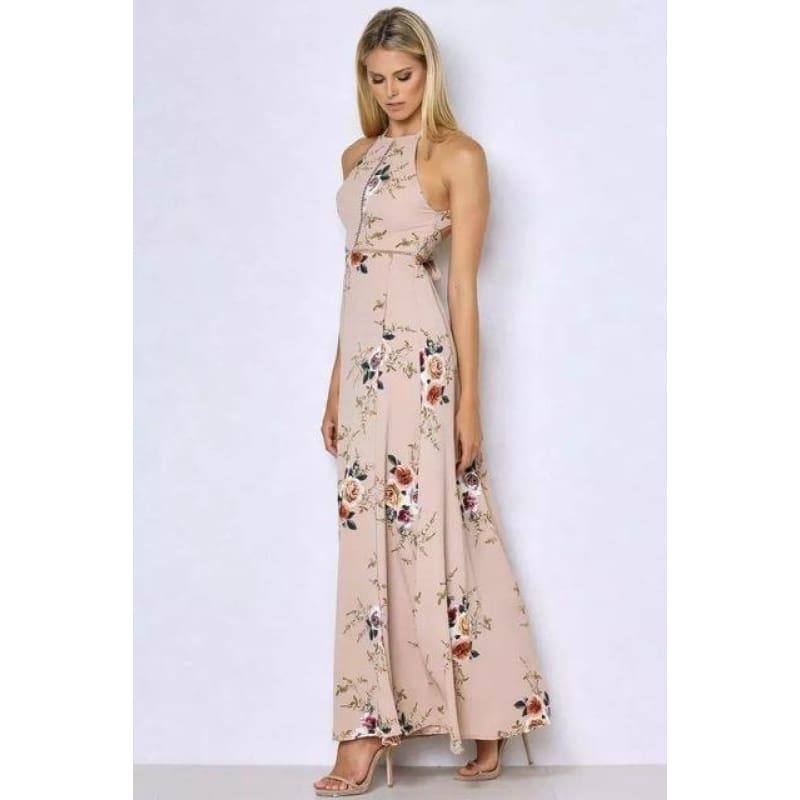 Printed Floral Halter Chiffon Backless Summer Maxi Dress - Kahki / L - Maxi Dress