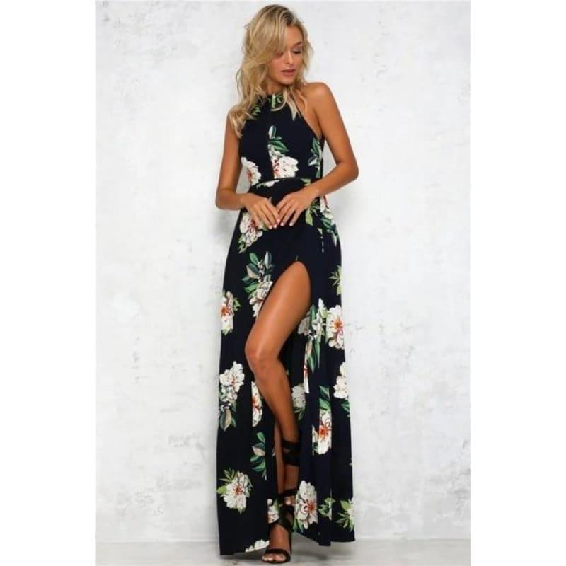 Printed Floral Halter Chiffon Backless Summer Maxi Dress - Navyblue / XXL - Maxi Dress