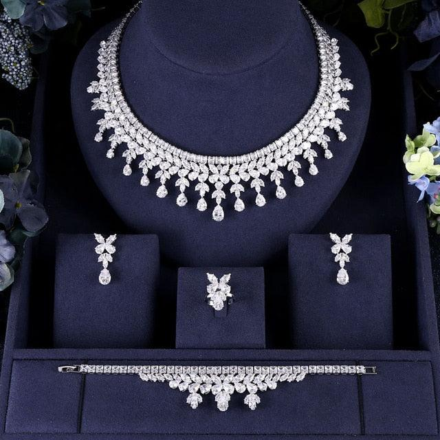 Luxury Cubic Zirconia Necklace Bracelet Earrings and Ring 4Jewelry Set
