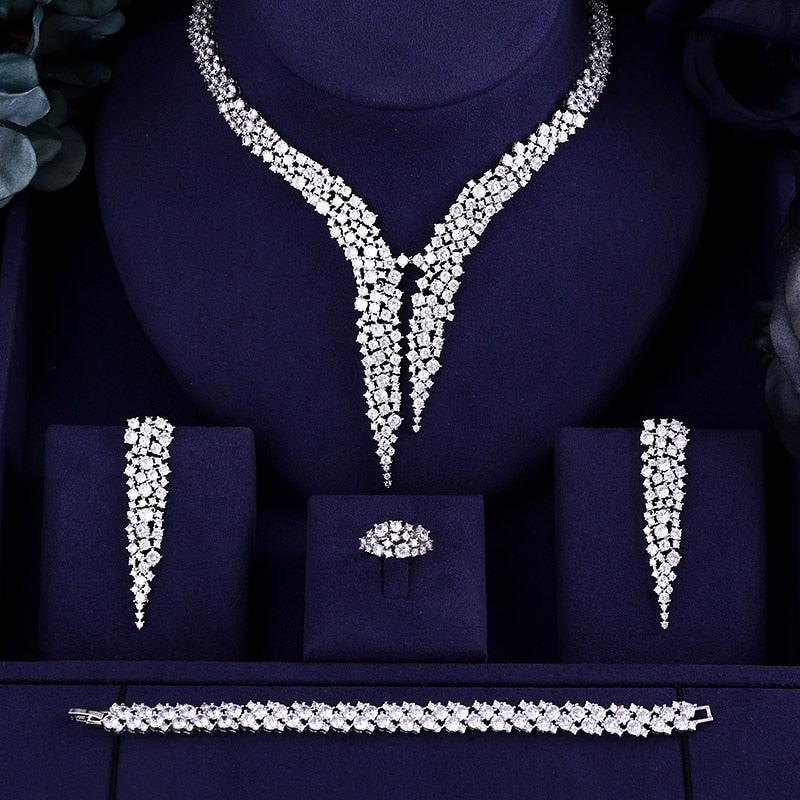 Sparkling ing Brilliant Cubic Zircon Drop Earring Necklace Wedding Bridal jewelry Sets