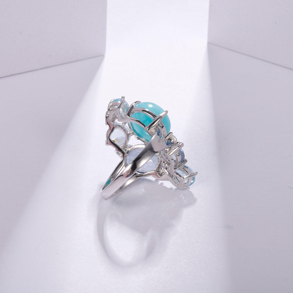 Amazonite Blue Topaz Gemstone Candy Sterling Silver Statement Rings