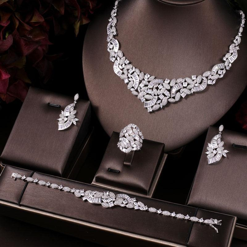 Elegant Bridal CZ Necklace Earrings Bracelet Ring Wedding Jewelry Set