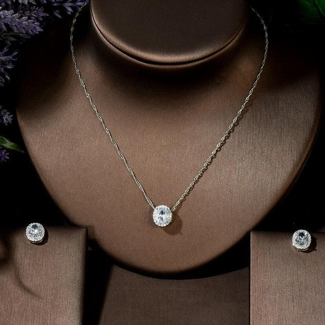 Simple Round Shape Pendant Necklaces Earring Jewelry Set
