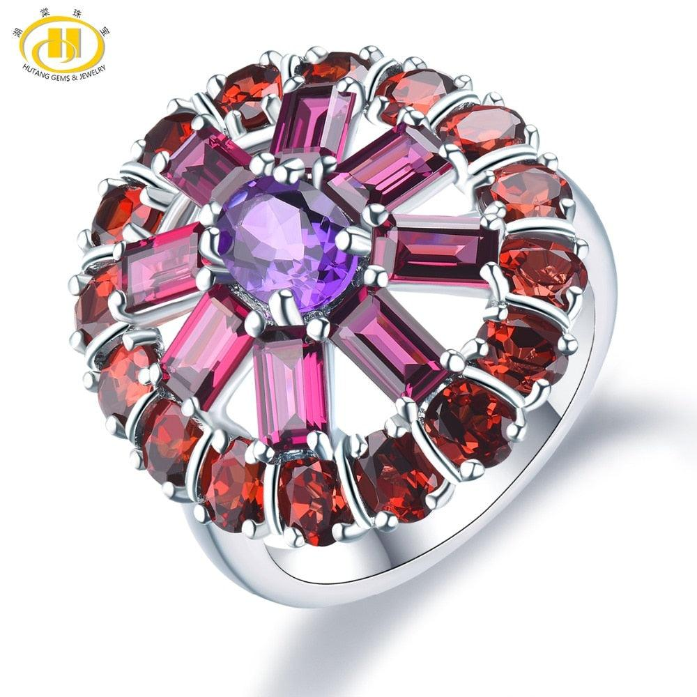 Amethyst Rhodolite Garnet Natural Gemstone 925 Sterling Silver Ring