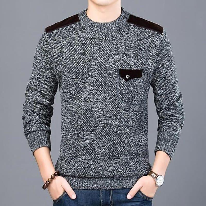 Pullover Slim Fit Knitwear O-Neck Style Casual Long Sleeve Shirt - Dark Grey / M - Men