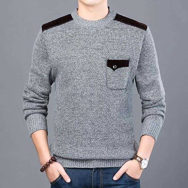 Pullover Slim Fit Knitwear O-Neck Style Casual Long Sleeve Shirt - Light Gray / M - men pullover