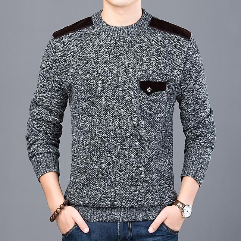 Pullover Slim Fit Knitwear O-Neck Style Casual Long Sleeve Shirt - Men