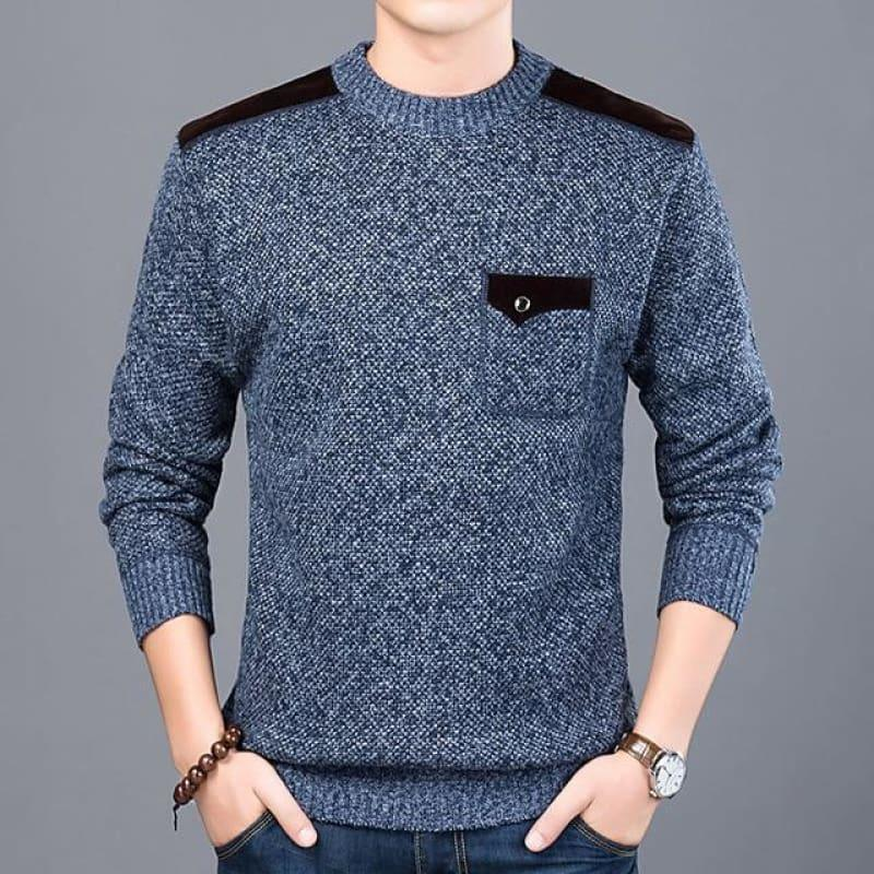 Pullover Slim Fit Knitwear O-Neck Style Casual Long Sleeve Shirt - Navy Blue / M - Men