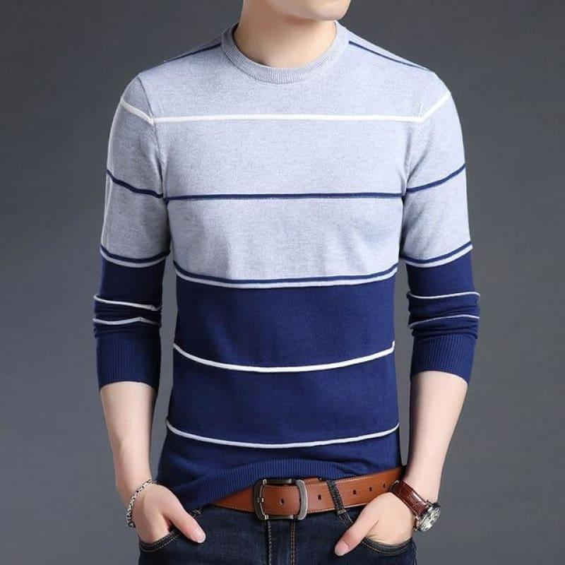 Pullover Striped Slim Fit Jumpers Knitted Woolen Autumn Korean Style Casual Men Long Sleeve Shirt - Blue / Xs - Men