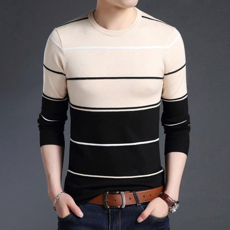 Pullover Striped Slim Fit Jumpers Knitted Woolen Autumn Korean Style Casual Men Long Sleeve Shirt - Camel / Xs - Men