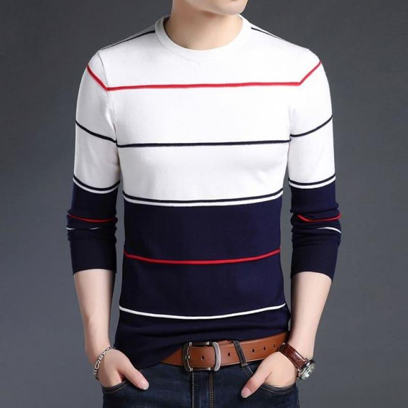 Pullover Striped Slim Fit Jumpers Knitted Woolen Autumn Korean Style Casual Men Long Sleeve Shirt - White / XS - men pullover