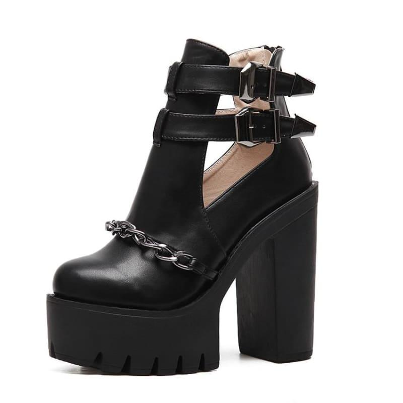 Punk Style Cut-outs Buckle Round Toe Chain Thick Heels Platform Booties - black shoes / 10 - Booties